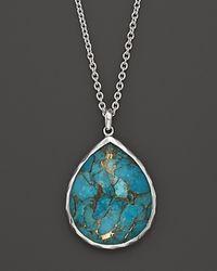 Ippolita | Blue Ippolita Sterling Silver Wonderland Large Teardrop Pendant in Bronze Turquoise 16 | Lyst