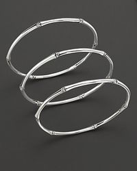 "John Hardy | Metallic ""bamboo"" Slim Bangles, Set Of 3 