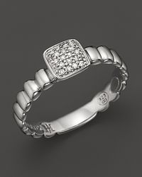 John Hardy | Metallic Bedeg Silver Square Station Slim Band Ring With Diamond Pavé | Lyst