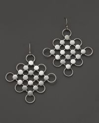 John Hardy - Metallic Dot Silver Diagonal Square Drop Earrings - Lyst