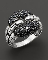 John Hardy - Metallic Kali Lava Square Link Ring with Black Sapphire - Lyst
