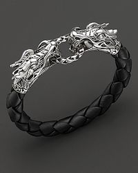 "John Hardy - Metallic ""naga"" Black Woven Leather Dragon Bracelet - Lyst"
