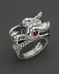 John Hardy - Metallic Naga Silver Lava Dragon Head Ring - Lyst