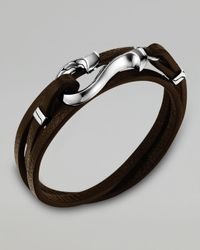 John Hardy | Black Dayak Brown Leather Hook Bracelet | Lyst