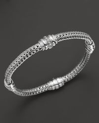 John Hardy | Metallic Bedeg Silver Diamond Pave Four Station Chain Bracelet | Lyst