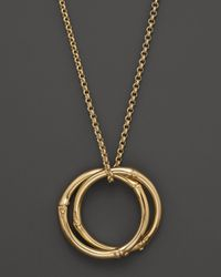 John Hardy - Metallic Bamboo 18k Gold Large Round Interlinking Pendant On Whisper Chain Necklace 16 - Lyst