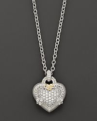"""Judith Ripka - Metallic Sterling Silver And White Sapphire Pavé Ambrosia Heart Pendant Necklace, 17"""" - Lyst"""