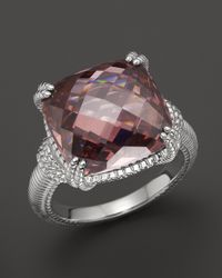 Judith Ripka - Metallic Sterling Silver Cushion Stone Ring with Raspberry Crystal - Lyst