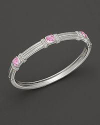 Judith Ripka | Metallic Sterling Silver Labcreated Pink Corundum Bangle | Lyst