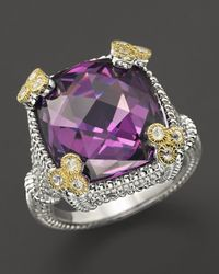 Judith Ripka | Metallic Sterling Silver Small Monaco Ring With Purple Crystal | Lyst