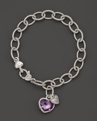 Judith Ripka - Metallic Sterling Silver Pave Heart and Stone Heart Charm Bracelet with Purple Crystal and White Sapphires - Lyst