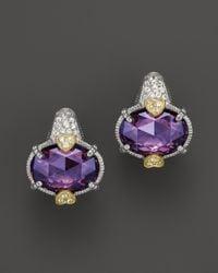 Judith Ripka - Metallic Oval Stone Ambrosia Earrings with Pavé Stem - Lyst