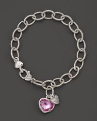 Judith Ripka | Metallic Sterling Silver Pave Heart and Stone Heart Charm Bracelet with Lab-created Pink Corundum and White Sapphires | Lyst