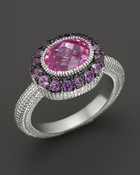 Judith Ripka - Metallic Sterling Silver Oval Isabella Ring with Labcreated Pink Corundum and Amethyst - Lyst