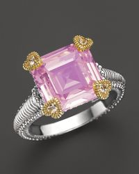 Judith Ripka | Metallic Small Candy Ring With Pink Crystal And White Sapphires | Lyst