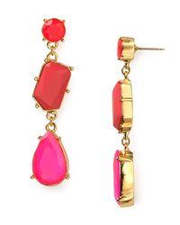 kate spade new york | Pink Crystal Fiesta Linear Earrings | Lyst