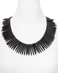 Kenneth Jay Lane | Metallic Graduated Spike Collar Necklace Black | Lyst