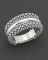 "Lagos - Metallic Sterling Silver ""Caviar"" Ring - Lyst"