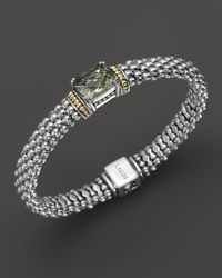 Lagos | Metallic Sterling Silver and 18k Gold Prism Green Amethyst Rope Bracelet 9mm | Lyst