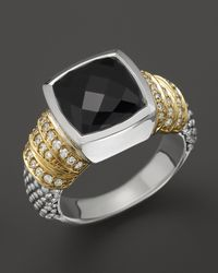 Lagos - Metallic Embrace Noir Sterling Silver Black Spinel Ring with 18k Gold and Diamonds - Lyst