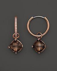 Lisa Nik | Metallic 18K Rose Gold Diamond Hoop Earrings With Smokey Quartz Detachable Drops | Lyst
