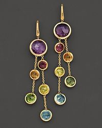 Marco Bicego - Jaipur 18 K Yellow Gold And Multi-stone Double Drop Earrings - Lyst