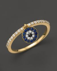 Meira T | Blue Sapphire and Diamond Ring in 14k Yellow Gold | Lyst