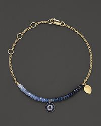 Meira T | Blue Diamond, Sapphire And 14k Yellow Gold Evil Eye Bracelet | Lyst