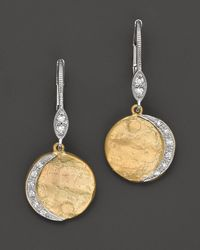 Meira T - Metallic 14k Yellow Gold Drop Earrings with Diamonds 09 Ct Tw - Lyst