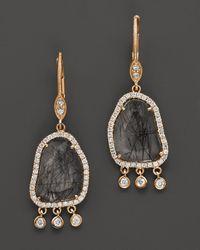 Meira T | Metallic 14K Yellow Gold Quartz & Diamond Earrings, .32 Ct. T.W. | Lyst