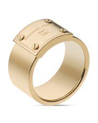 Michael Kors - Metallic Logo Plate Ring - Lyst