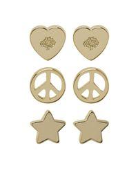 Mulberry | Metallic Love Peace Earrings | Lyst