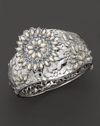 Paul Morelli - Metallic Applique Bombay Cuff with Mother Of Pearl and Blue Topaz - Lyst