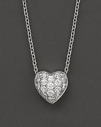 Roberto Coin | 18 Kt. White Gold Diamond Pavé Heart Necklace | Lyst
