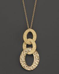 "Roberto Coin   Metallic 18K Yellow Gold Chic & Shine Pendant Necklace, 18""   Lyst"