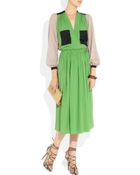 Roksanda | Green Color-Block Silk-Blend Dress | Lyst
