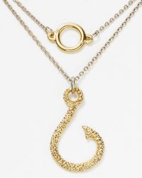 Rose Pierre - Metallic Snelled Fish Hook Necklace 16 - Lyst