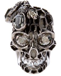 Alexander McQueen | Metallic Honeycombed Skull Ring for Men | Lyst