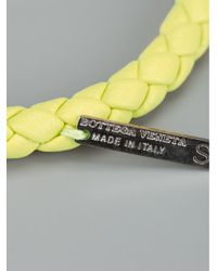 Bottega Veneta - Yellow Leather Weave Bracelet - Lyst