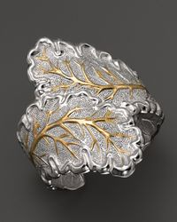 Buccellati | Metallic Double Oak Leaf Cuff Bracelet with Gold Accents | Lyst