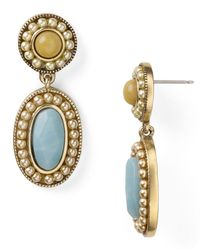 Carolee - Metallic Pave Stone Double Drop Earrings - Lyst