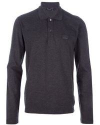 Dolce & Gabbana | Gray Long Sleeve Polo Shirt for Men | Lyst