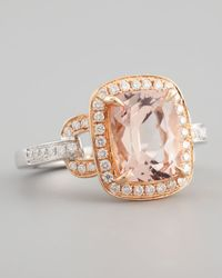 Frederic Sage | Metallic 18k Rose Gold Pave Diamond Morganite Ring | Lyst