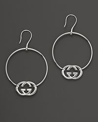 Gucci | Metallic Sterling Silver Britt Hoop Earrings | Lyst