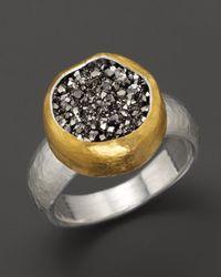 Gurhan - Metallic Sterling Silver and 24k Gold Galaxy Druzy Ring - Lyst