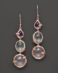 Ippolita | Pink Rosé Sugar Kissed 3-Stone Drop Earrings In Bloom | Lyst