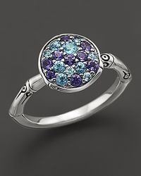 John Hardy | Metallic Bamboo Silver Lagoon Colorway Small Round Ring With Swiss Blue Topaz And Iolite | Lyst