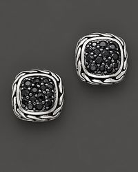 "John Hardy | Metallic ""kali Lava"" Small Square Stud Earrings With Black Sapphire 