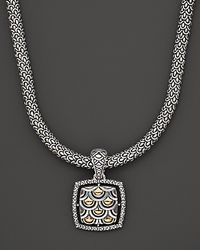 "John Hardy | Metallic ""naga"" Square Pendant Necklace, 18"" 