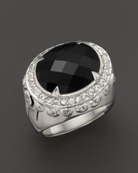 John Hardy | Metallic Batu Bamboo Silver Small Oval Ring With Black Onyx And White Sapphires | Lyst
